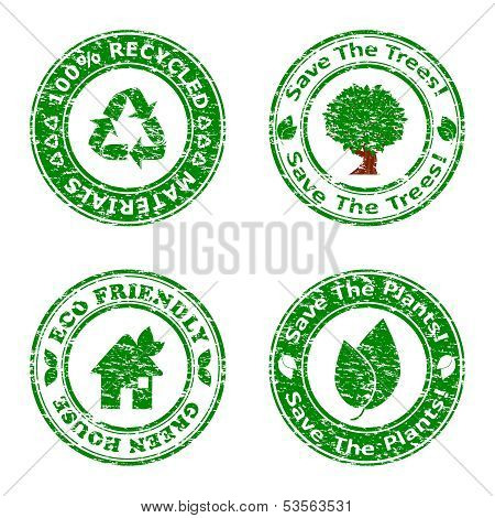 Vector Illustration Of A Set Of Green Environmental Icons Isolated On White Background