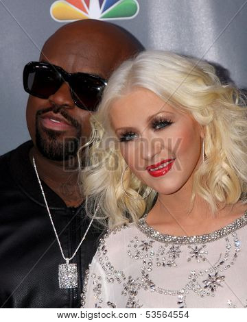 LOS ANGELES - NOV 7:  CeeLo Green, Christina Aguilera at the The Voice Season 5 Judges Photocall at Universal Studios Lot on November 7, 2013 in Los Angeles, CA