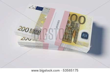 Packets of 200 Euro bills