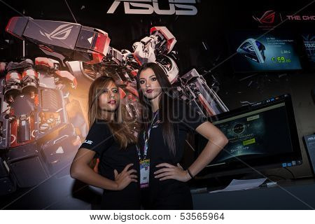 Two Beautiful Hostesses At Games Week 2013 In Milan, Italy