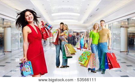 Beautiful Girl with shopping bags.  Christmas sale.