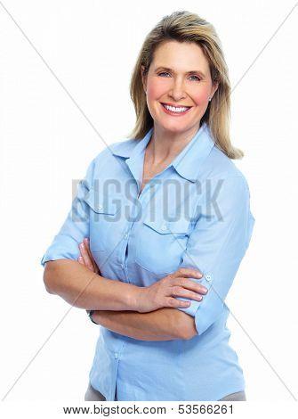 Senior lady portrait isolated over white background.