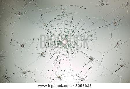 Broken Car Glass Of Windscreen