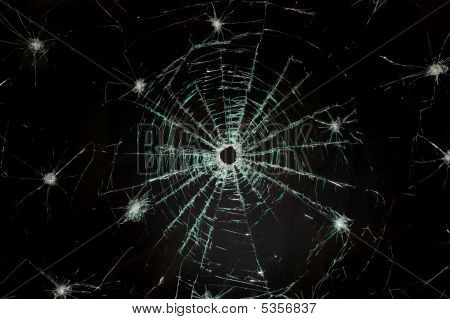 Broken Car Glass Of Windscreen