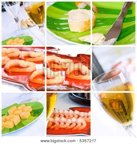 Shrimp And Wine Collage