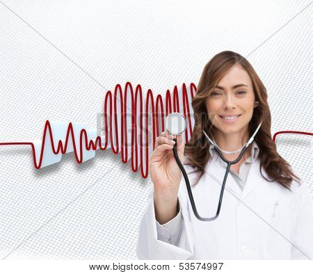 Composite image of happy brunette doctor using stethoscope