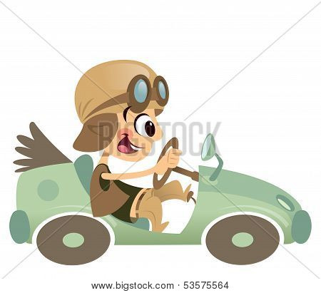 Cartoon Kid Boy With Hat And Eyeglasses Driving Retro Car