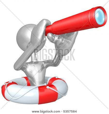 3D Character In Lifebuoy With Telescope