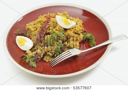 Authentic homemade Bengali kichury, made with moong dal rice, tomato, peas, raisins, peanuts, cashews and spices, served with a hard-boiled egg and a coriander garnish.