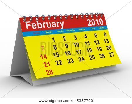 2010 Year Calendar. February. Isolated 3D Image