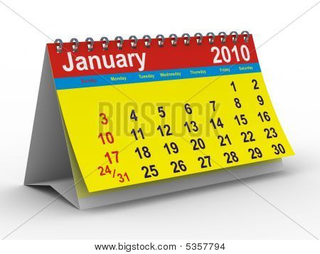 2010 Year Calendar. January. Isolated 3D Image