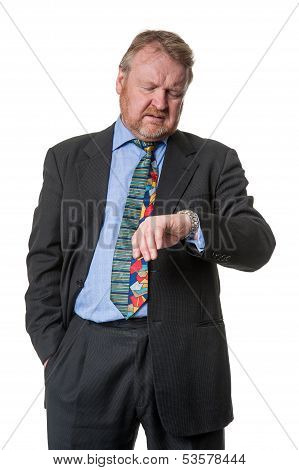 Anxious Businessman Watching Time - On White