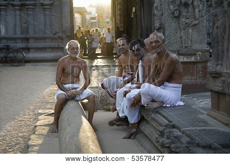 Tamil Nady, India - April 14: An Unidentified Hindu Brahmin Monks In Shiva Temple On April 14, 2012
