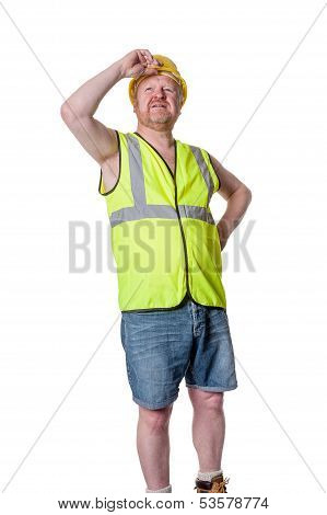 Builder In Hard Hat Staring - Isolated On White