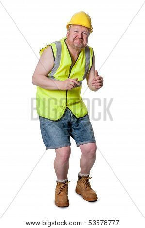 Builder In Hard Hat, Ducking - Isolated On White