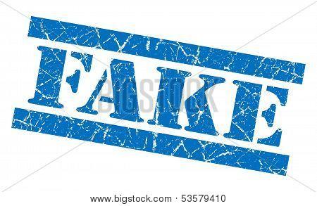 Fake Grunge Blue Stamp
