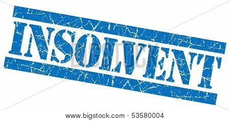 Insolvent Grunge Blue Stamp