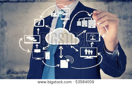 Image of businessman drawing business plan. Computing concept