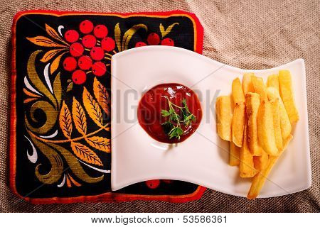French Fries And Sauce Dish With Russian Kvass On Napkin