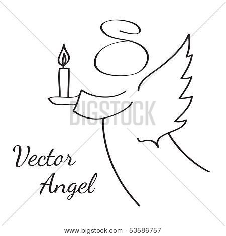 Stylized Vector Sketch Drawing Of Flying Angel With A Candle