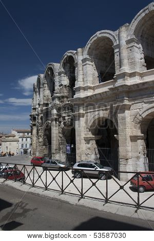 old Roman amphitheatre in Arles from Roman times