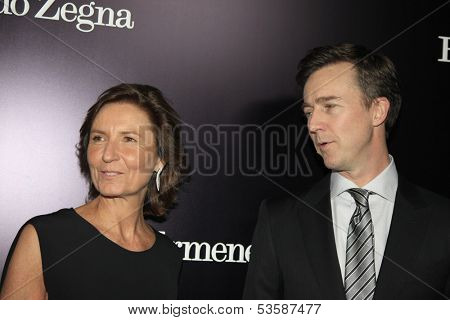 LOS ANGELES - NOV 7:  Anna Zegna, Edward Norton at the Ermenegildo Zegna Global Store Opening at Ermenegildo Zegna Boutique on November 7, 2013 in Beverly Hills, CA