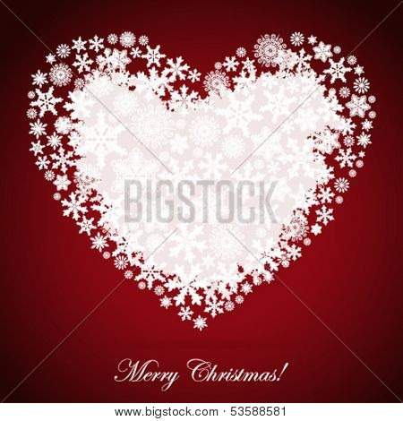 Christmas heart, snowflake design background.