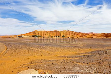 Hostel in the Erg Chebbi desert in Morocco Africa