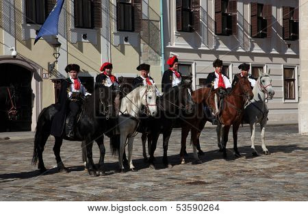 ZAGREB, CROATIA - 18 October: Lineup Cravat Regiment at a ceremony celebrating the day tie on 18 October 2013 in Zagreb.