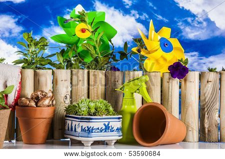 Gardening stuff with vivid colors and blue background