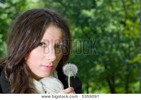 Summer Girl With Dandelion