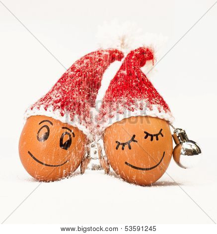 Funny Lovely  Eggs In Winter Santa Hats