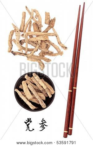 Codonopsis root used in traditional chinese herbal medicine with mandarin title script translation and chopsticks. Dang shen.