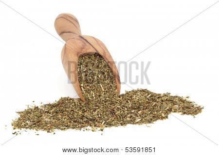 St johns wort herb in an olive wood scoop over white background. Used in alternative medicine to treat depression.