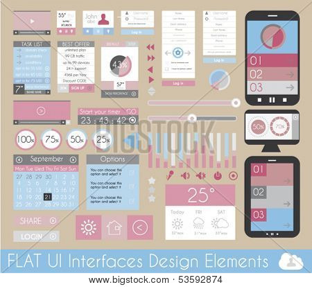 UI Flat Design Elements for Web, Infographics, Data display, Blogs and   Business presentations.