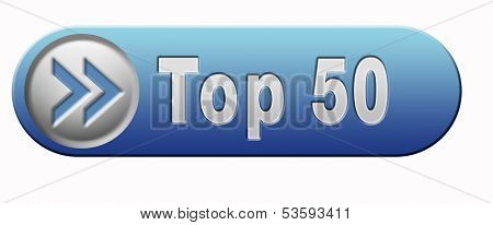 top 50 charts list pop poll result and award winners chart ranking music hits best top fifty quality rating prize winner blue icon