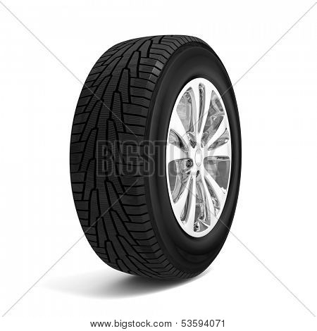 Car winter tire isolated on white background