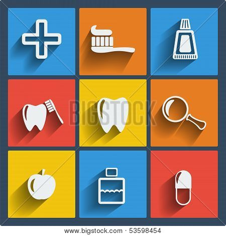 Set of 9 vector dental web and mobile icons in flat design