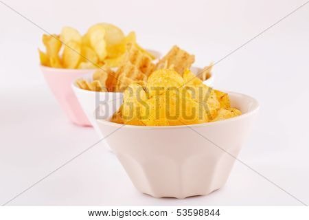 Potato And Wheat Chips In Bowls