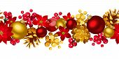 image of poinsettia  - Vector Christmas horizontal seamless background with red and golden balls - JPG