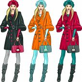 image of beret  - set beautiful fashion girls top model in a beret coat and boots in three color combinations - JPG