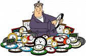 stock photo of daylight-saving  - This illustration depicts a man setting a pile of clocks for daylight savings time - JPG