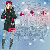 stock photo of french beret  - Christmas winter sketch of the beautiful fashionable girl near the Parisian cafe with Christmas decorations - JPG
