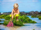 Young boy having fun on tropical beach, playing with fishing net
