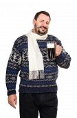 picture of shilling  - The fat man in white scarf with mug of ale on white background - JPG