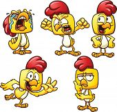 stock photo of yell  - Cartoon chicken in different poses - JPG