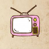 Retro TV. Cute Hand Drawn Vector illustration, Vintage Paper Texture Background