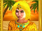 stock photo of hatshepsut  - Close up face of Egyptian royal woman with palm trees in background against an orange sunset sky and ocean - JPG