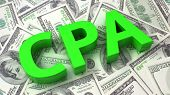 picture of cpa  - Word CPA on the background of one hundred dollar bills - JPG