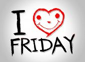 image of friday  - i love friday and i love weekend font signs draw by hand - JPG